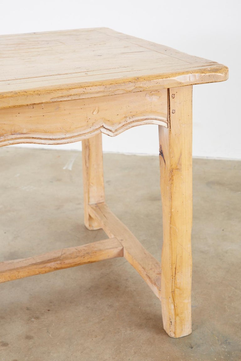 Rustic French Provincial Style Pine Farmhouse Dining Table For Sale 9
