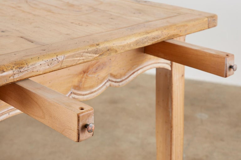 Rustic French Provincial Style Pine Farmhouse Dining Table For Sale 11