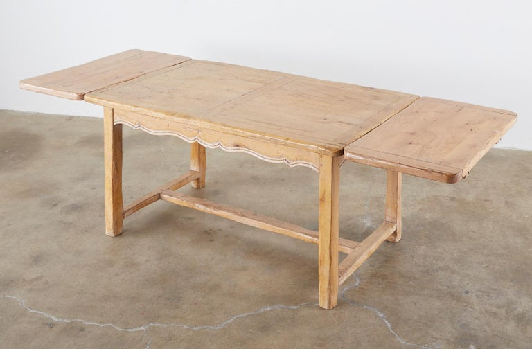American Rustic French Provincial Style Pine Farmhouse Dining Table For Sale