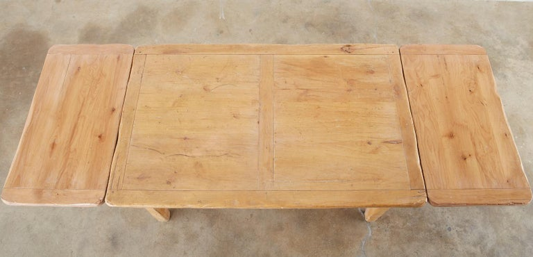 Hand-Crafted Rustic French Provincial Style Pine Farmhouse Dining Table For Sale
