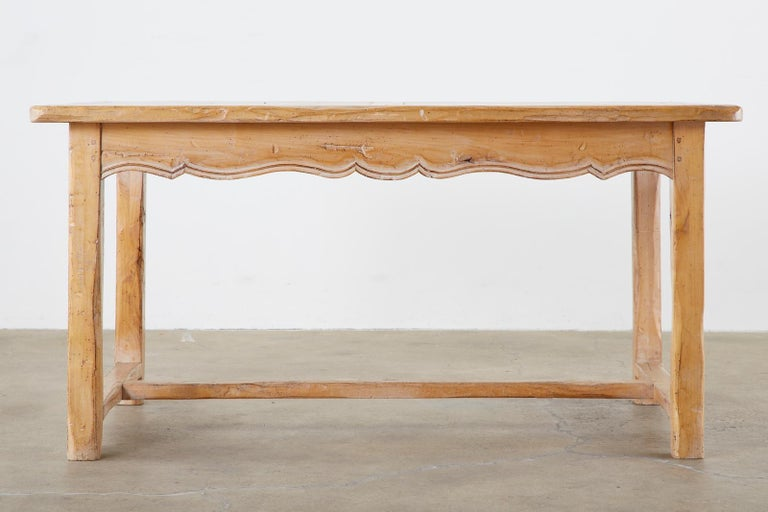 20th Century Rustic French Provincial Style Pine Farmhouse Dining Table For Sale
