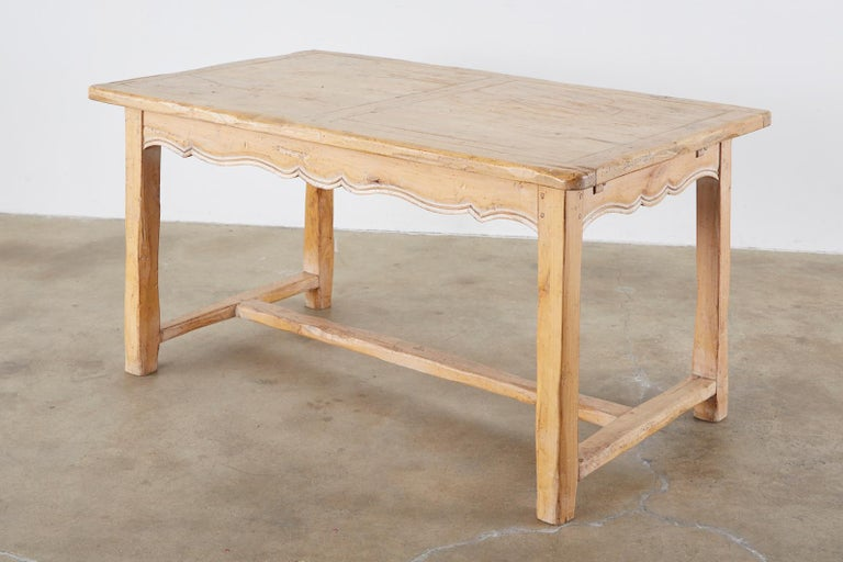 Rustic French Provincial Style Pine Farmhouse Dining Table For Sale 1