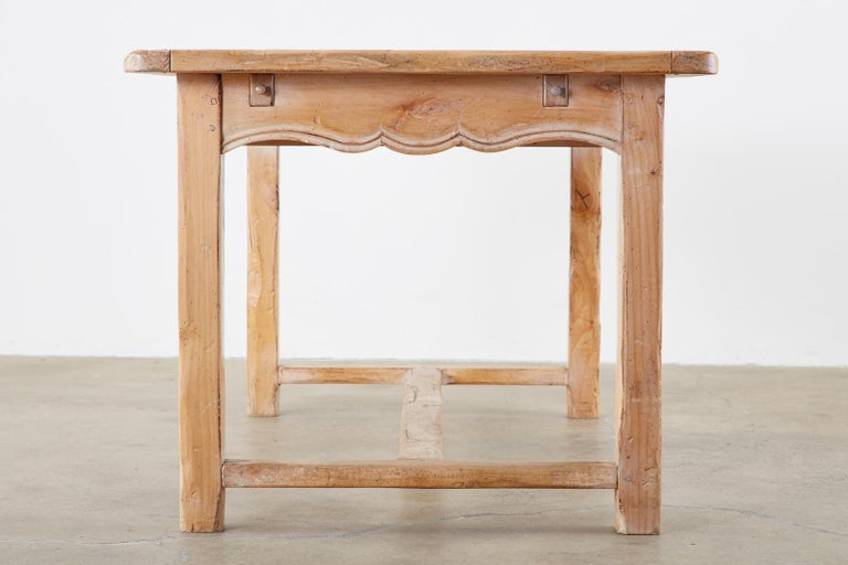 Rustic French Provincial Style Pine Farmhouse Dining Table For Sale 3