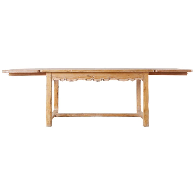 Rustic French Provincial Style Pine Farmhouse Dining Table For Sale
