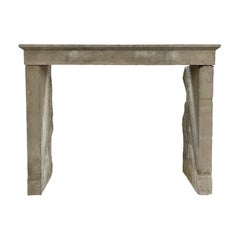 Rustic French Reclaimed Campagnarde Limestone Fireplace Surround