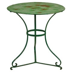 Rustic French Round Green Metal Table