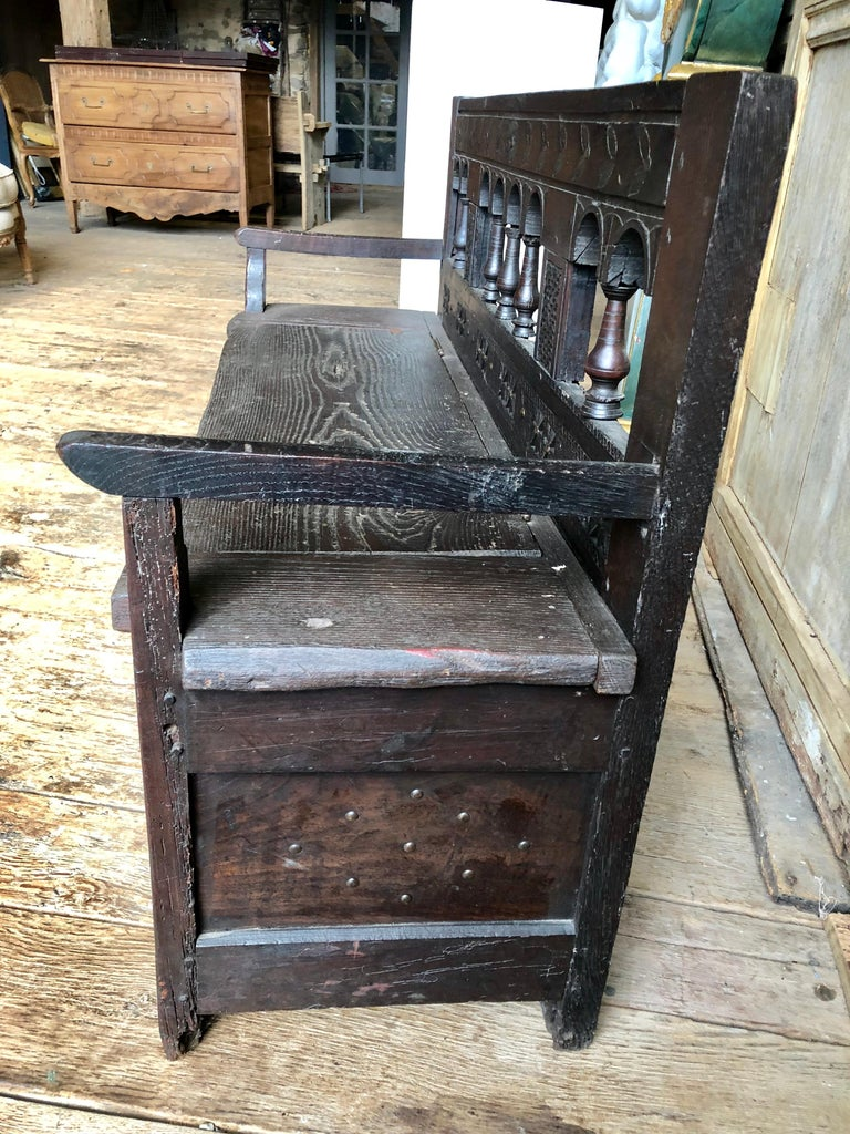 Oak Rustic French Storage Bench For Sale