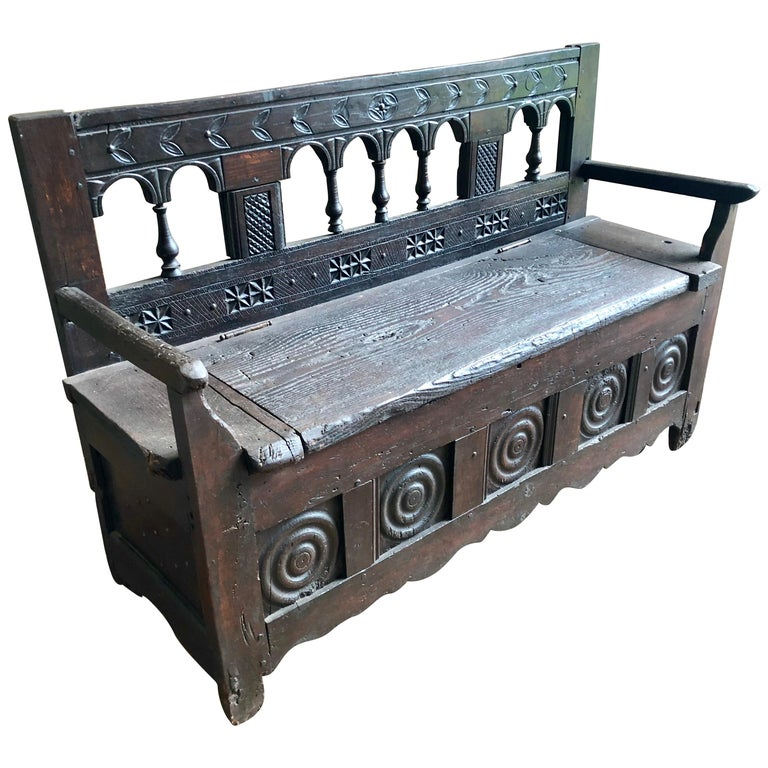 Rustic French Storage Bench For Sale