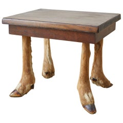 Rustic French Taxidermy Deer Leg Stool or Drinks Table