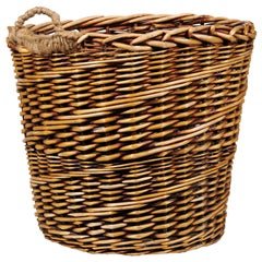 Rustic French Wicker Basket with Single Lateral Handle and Diagonal Patterns