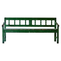 Rustic French Wood Bench Painted Green