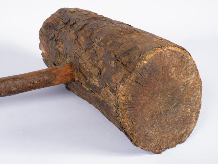 Rustic French Wooden Sledgehammer, Early 1900s For Sale 13