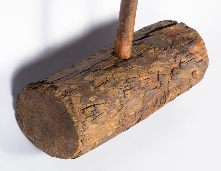 20th Century Rustic French Wooden Sledgehammer, Early 1900s For Sale