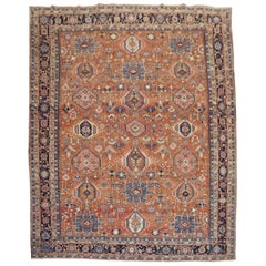 Rustic Geometric Antique Persian Heriz Karadja Carpet, Early 20th Century