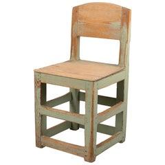 Rustic Green Swedish Baroque Style Chair