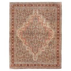 Rustic Grey, Red, & Cream Early 20th Century Handmade Persian Senneh Throw Rug