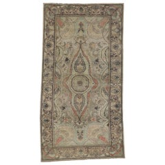 Distressed Vintage Turkish Oushak Rug with Modern Rustic Gustavian Style