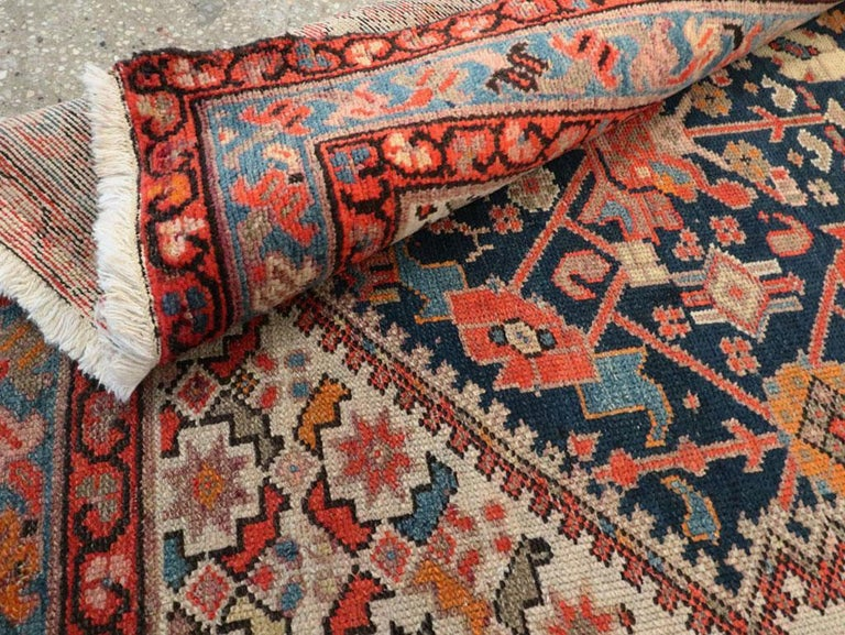 Rustic Handmade Persian Runner in Navy, Red, Ivory, and Light Blue For Sale 4