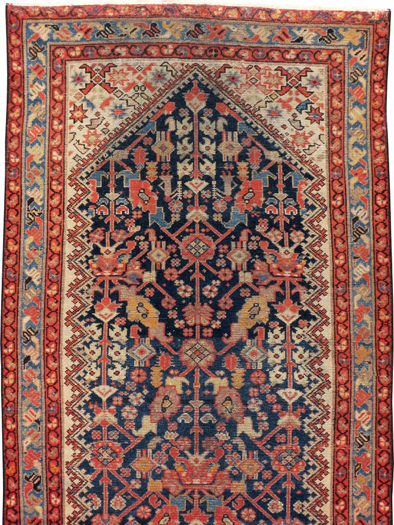 Hand-Knotted Rustic Handmade Persian Runner in Navy, Red, Ivory, and Light Blue For Sale