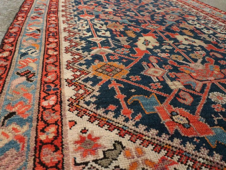 20th Century Rustic Handmade Persian Runner in Navy, Red, Ivory, and Light Blue For Sale