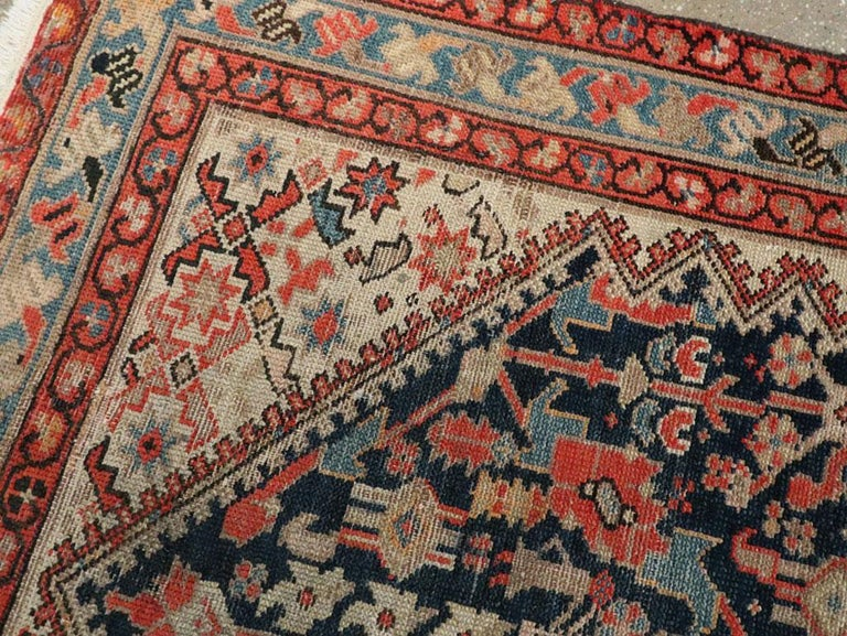 Wool Rustic Handmade Persian Runner in Navy, Red, Ivory, and Light Blue For Sale
