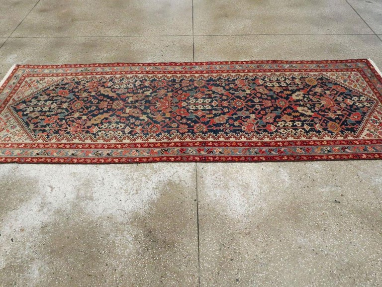 Rustic Handmade Persian Runner in Navy, Red, Ivory, and Light Blue For Sale 1