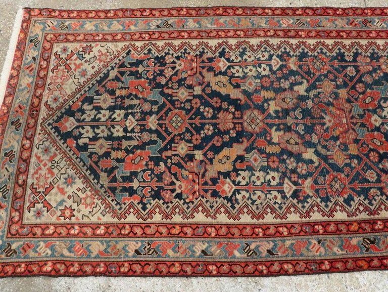 Rustic Handmade Persian Runner in Navy, Red, Ivory, and Light Blue For Sale 2