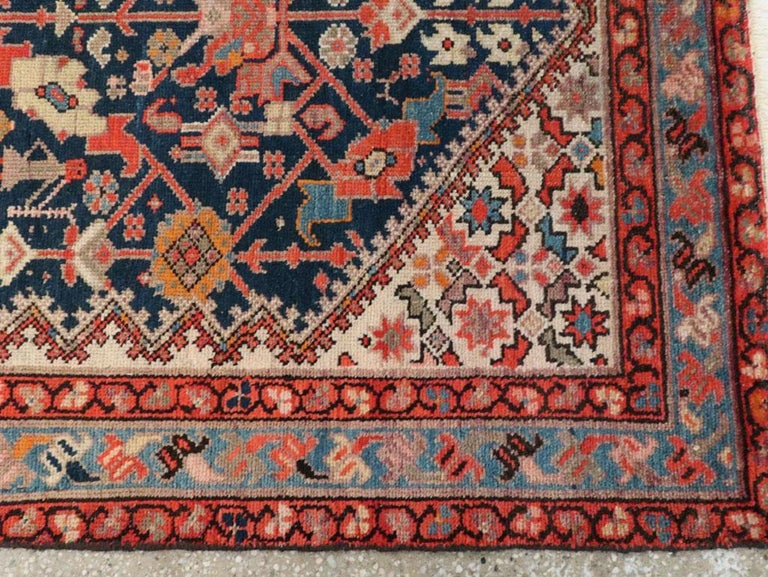 Rustic Handmade Persian Runner in Navy, Red, Ivory, and Light Blue For Sale 3