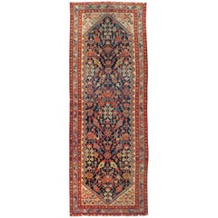 Rustic Handmade Persian Runner in Navy, Red, Ivory, and Light Blue