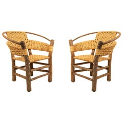 Rustic Hickory Bentwood Armchairs
