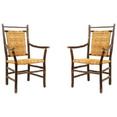 Rustic Hickory Dining Armchairs