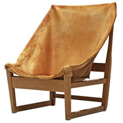 Rustic Hunting Chair in Cognac Leather and Oak