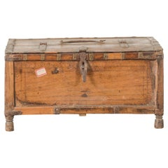 Rustic Indian 19th Century Wooden Box with Iron Details and Concentric Circles