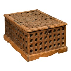 Rustic Indian Antique Food Box with Pierced Star Motifs and Bracketed Plinth