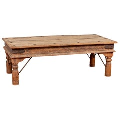 Rustic Indian Low Coffee Table with Carved Apron, Nailheads and Baluster Legs