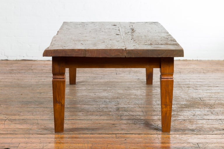 Rustic Indonesian 19th Century Coffee Table Made from a Slab of Wood For Sale 7
