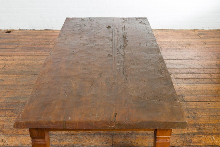 Rustic Indonesian 19th Century Coffee Table Made from a Slab of Wood For Sale 8