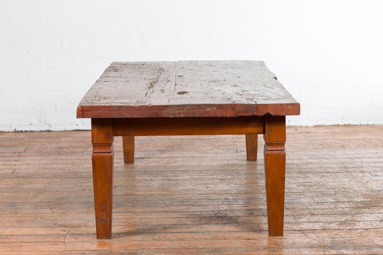 Rustic Indonesian 19th Century Coffee Table Made from a Slab of Wood For Sale 9