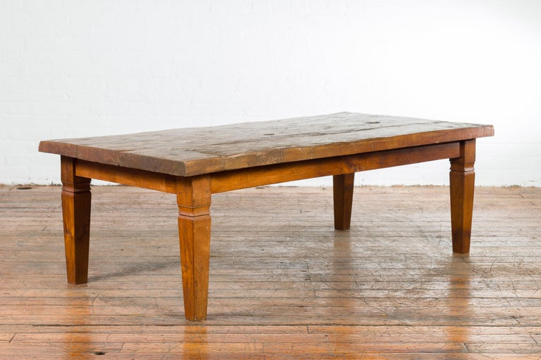 Rustic Indonesian 19th Century Coffee Table Made from a Slab of Wood In Good Condition For Sale In Yonkers, NY