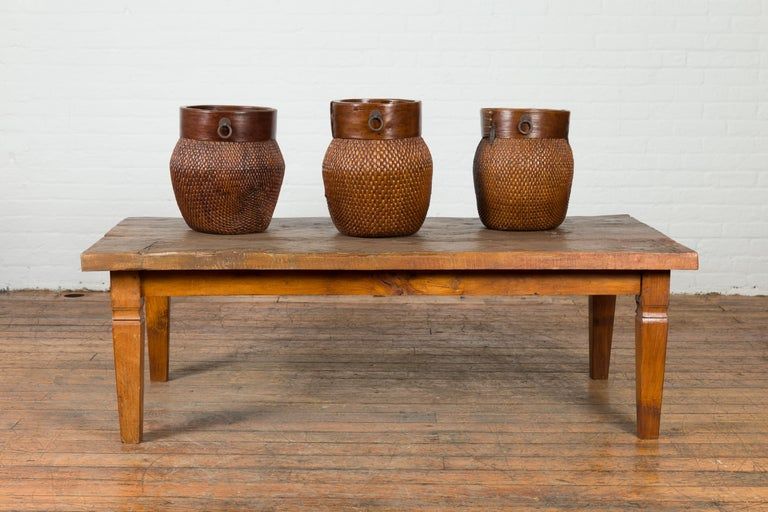 Rustic Indonesian 19th Century Coffee Table Made from a Slab of Wood For Sale 1