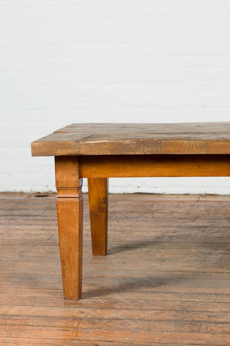 Rustic Indonesian 19th Century Coffee Table Made from a Slab of Wood For Sale 2