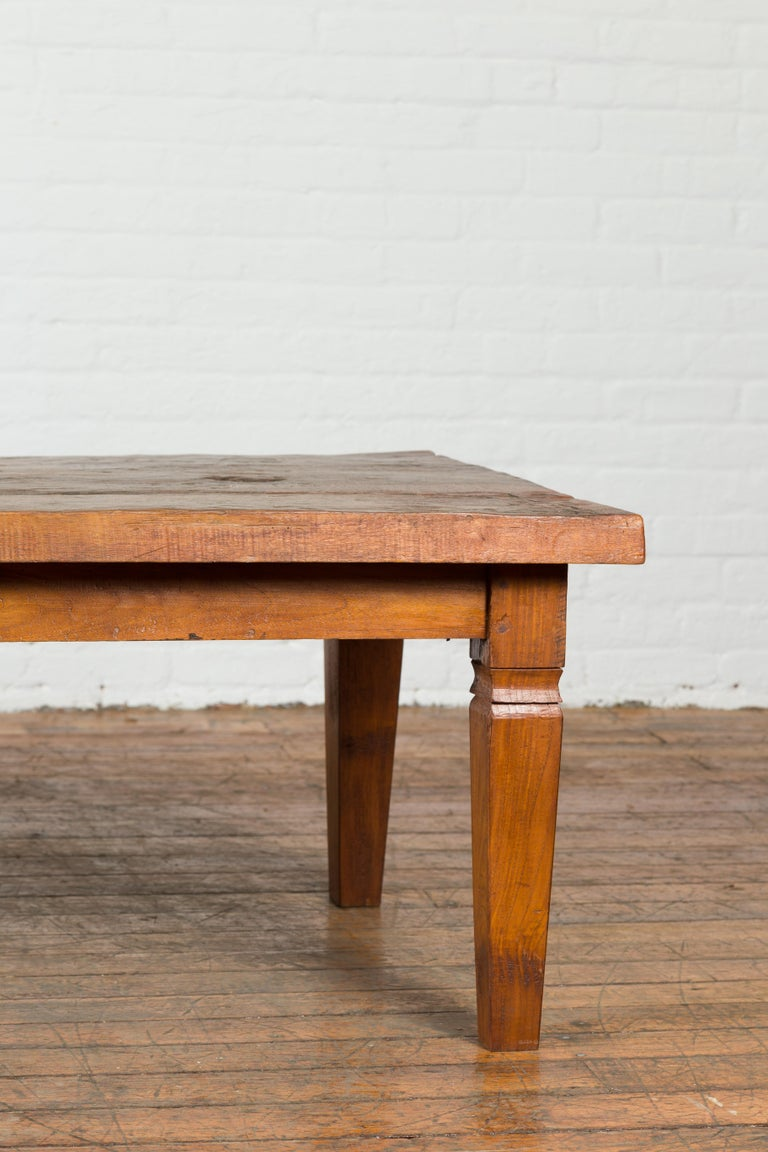 Rustic Indonesian 19th Century Coffee Table Made from a Slab of Wood For Sale 3