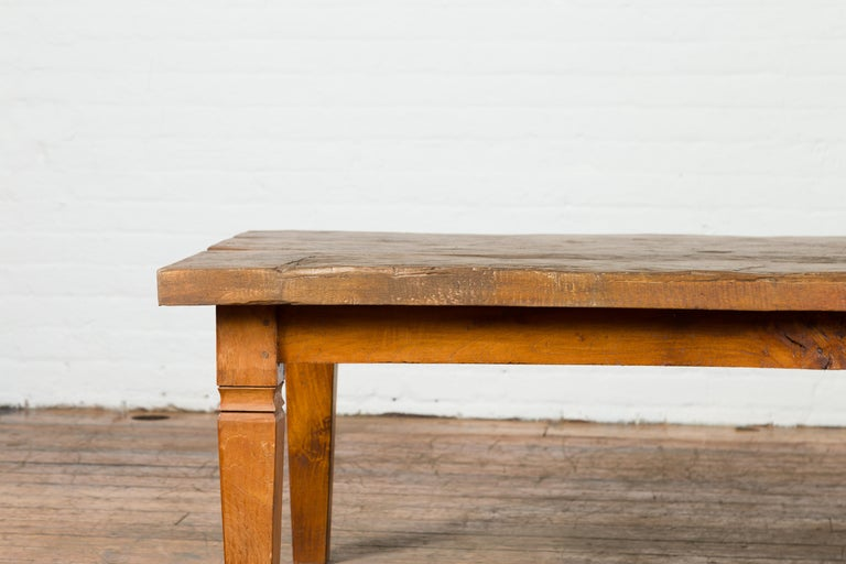 Rustic Indonesian 19th Century Coffee Table Made from a Slab of Wood For Sale 4