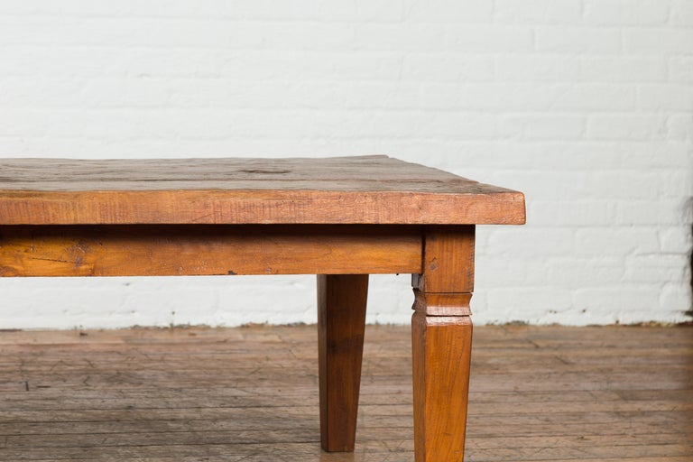Rustic Indonesian 19th Century Coffee Table Made from a Slab of Wood For Sale 5