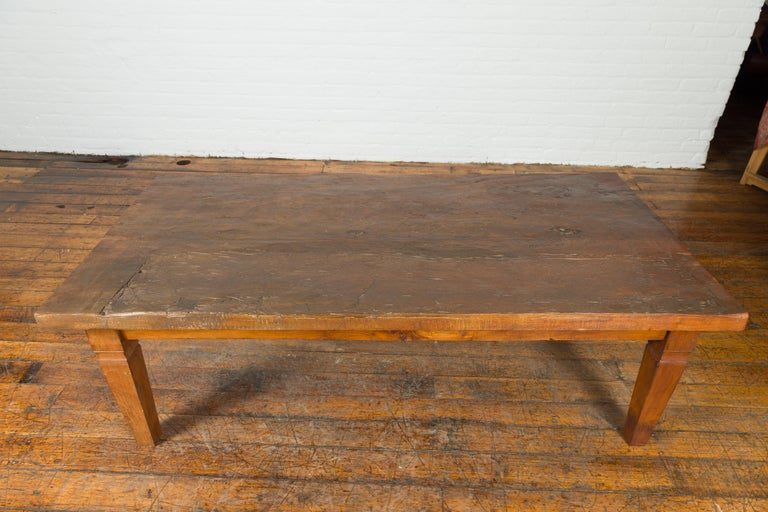 Rustic Indonesian 19th Century Coffee Table Made from a Slab of Wood For Sale 6