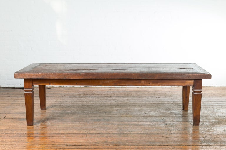 Rustic Indonesian 19th Century Coffee Table with Tapered Legs For Sale 7