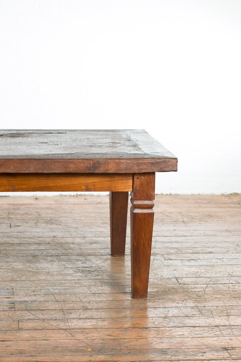Rustic Indonesian 19th Century Coffee Table with Tapered Legs For Sale 1