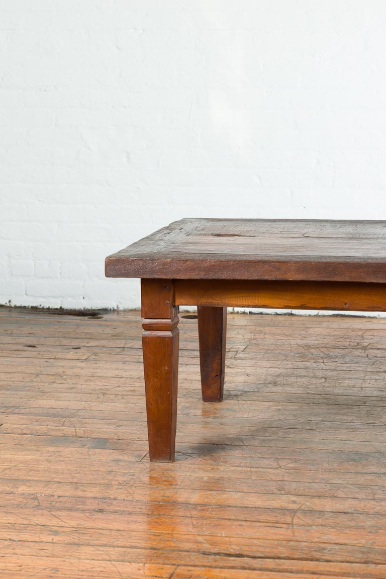 Rustic Indonesian 19th Century Coffee Table with Tapered Legs For Sale 2
