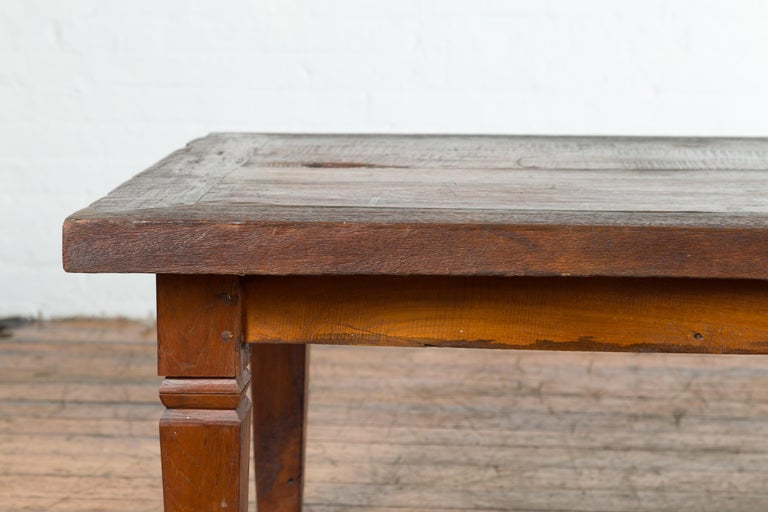 Rustic Indonesian 19th Century Coffee Table with Tapered Legs For Sale 3