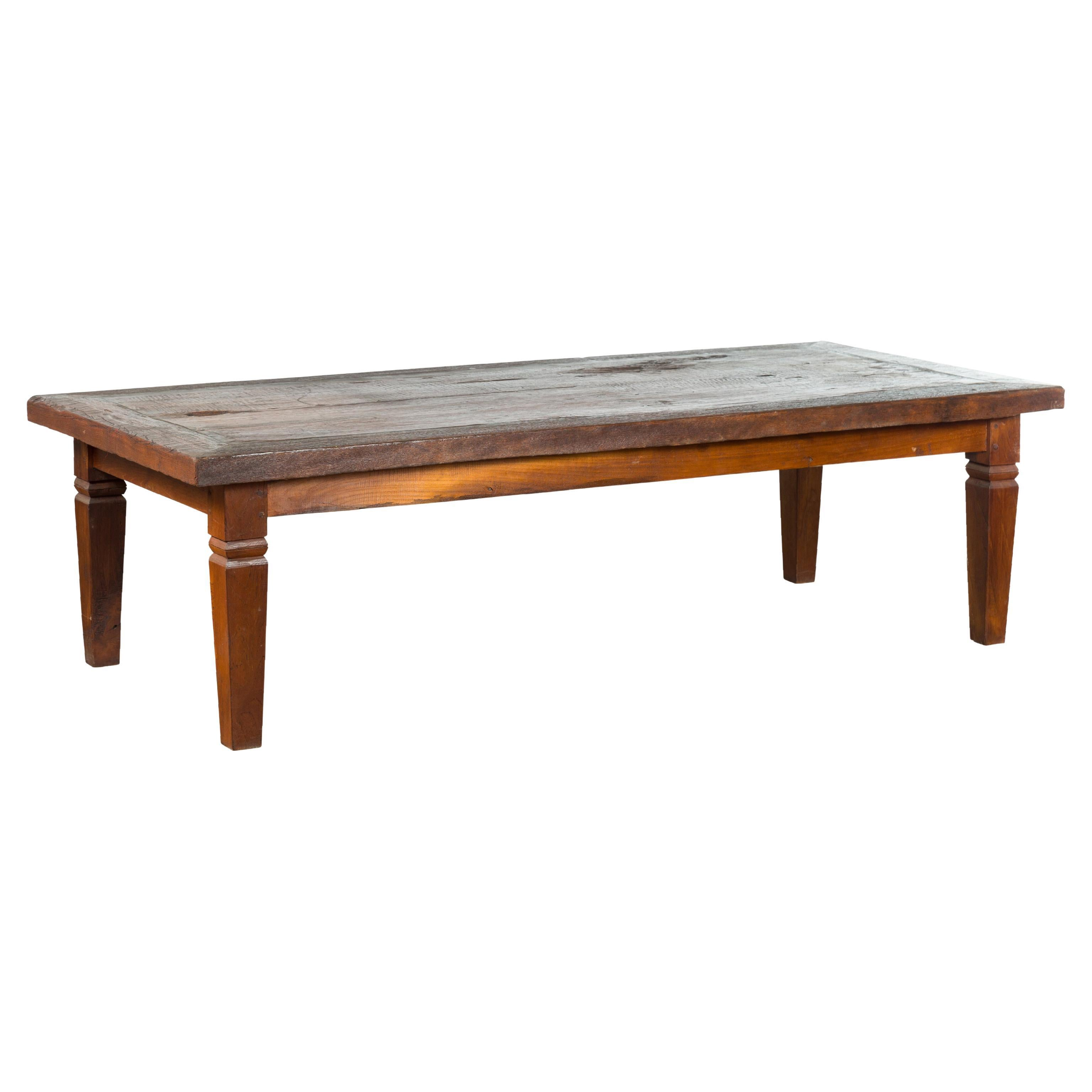 Rustic Indonesian 19th Century Coffee Table with Tapered Legs